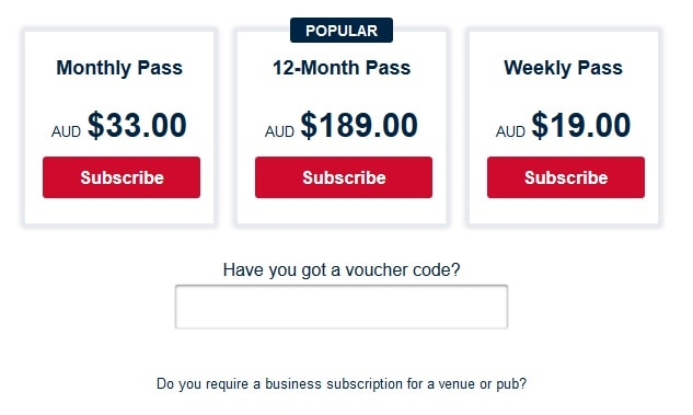 AFL Live Pass International
